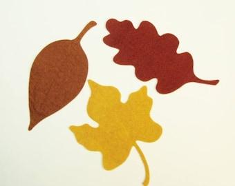 Wool Felt Large Leaf Trio- Die Cut (precut) -U Choose Colors     #0122