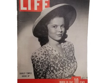 Vintage Life Magazine Shirley Temple Grows Up - World War 2 Era with War Articles and Advertising - March 30, 1942