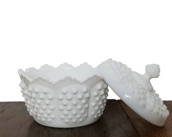Vintage Milk Glass Fenton Hobnail Candy Dish With Matching Lid - Home Decor Office Decor or Wedding Decor