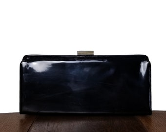 Vintage Purse Black Patent Leather Clutch Morris Moskowitz -  Black Satin Lining with Pockets and Gold Tone Clasp