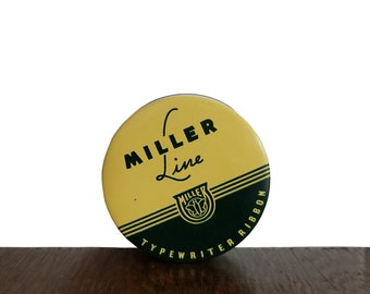Vintage Typewriter Ribbon by Miller Line Black and Red Heavy Inked Ribbon with Original Yellow and Green Tin - Made in USA