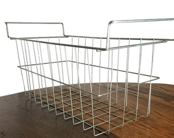 Vintage Industrial Basket Large Wire Rectangular with Handles - Mid Century Organizer Storage for Home or Office