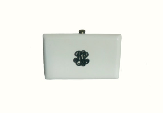 Vintage Purse White Lucite Opaque Plastic Box Clut