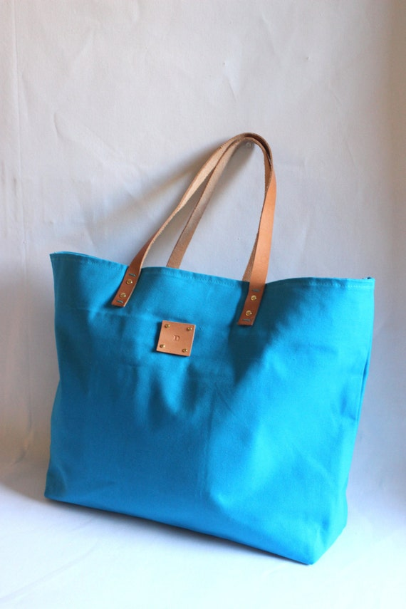 SPECIALIZED LABEL...Beach bag sized TURQUOISE tote bag Canvas Tote..