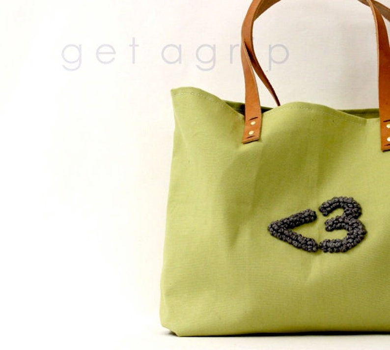 Canvas Tote.. AVOCADO tote bag with PERSONALIZED leather label