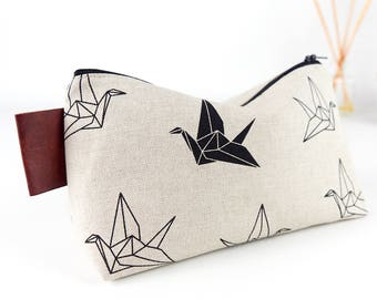 Origami Cranes Men's Wash Bag Simple Linen Toiletry Bag Monochrome Fabric Makeup Bag Boyfriend Gift for Guys