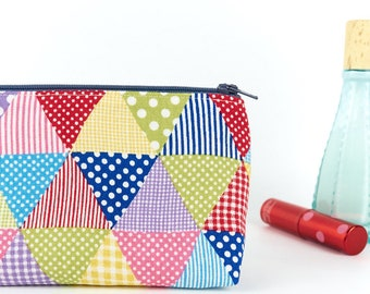 Cute Makeup Bag in Colourful Spotty Linen Small Make Up Cosmetic Pouch Beauty Bag Cool Best Friend Gift for Her