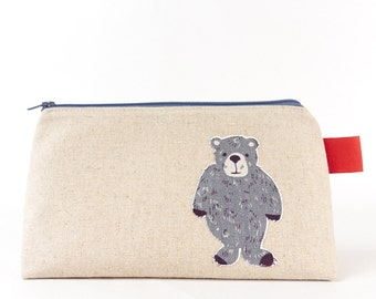 Large Animal Wash Bag, Bear Bag, Cute Cosmetic Bag, Woodland Animal, Makeup Bag, Best Friend Birthday Gift for Guys