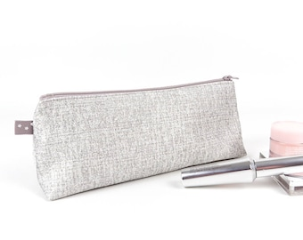 Sparkly Metallic Silver Makeup Bag Large Pencil Case Silver Makeup Brush Holder Grey Cosmetic Bag Gift for Teen Girl