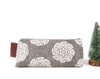 Art Gift Earth Tones Large Grey Women Pencil Case Fabric Makeup Bag Brush Pouch Gift for Her