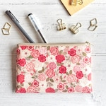 Small Zipper Pouch for Purse, Floral Pouch, Sanitary Pad Pouch, Pink Rose Pouch, Flat Zipper Pouch for Makeup, Zip Pouch Bag, Botanical