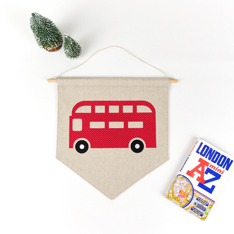 London Red Bus Kid's Room Decor Transport Wall Art image 0