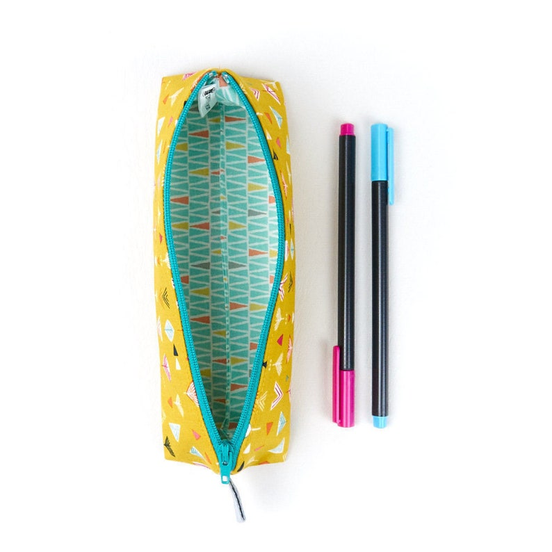 Modern Adult Pencil Case in Yellow Retro Style Print Small image 0