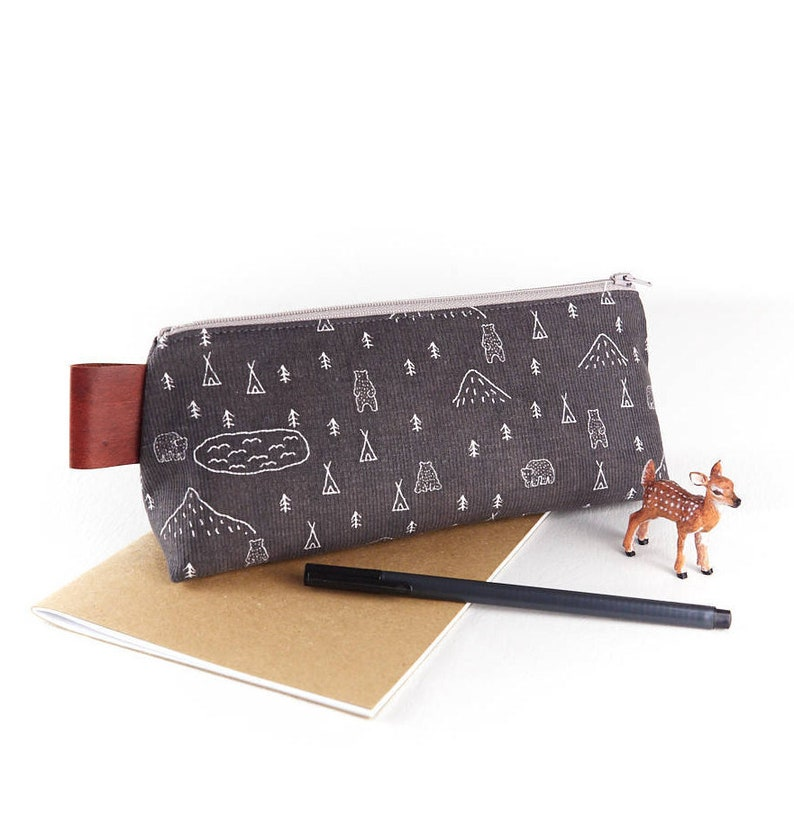 Woodland Camping Large Pencil Case Gift for Guys Large Grey image 0