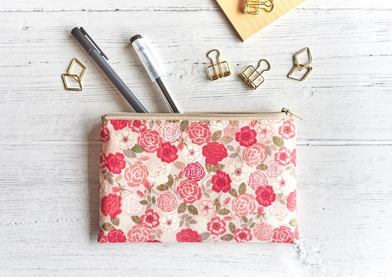 Small Zipper Pouch for Purse Floral Pouch Sanitary Pad image 0