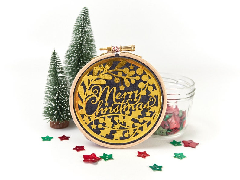 Navy and Gold Christmas Decoration Metallic Gold Holiday image 0