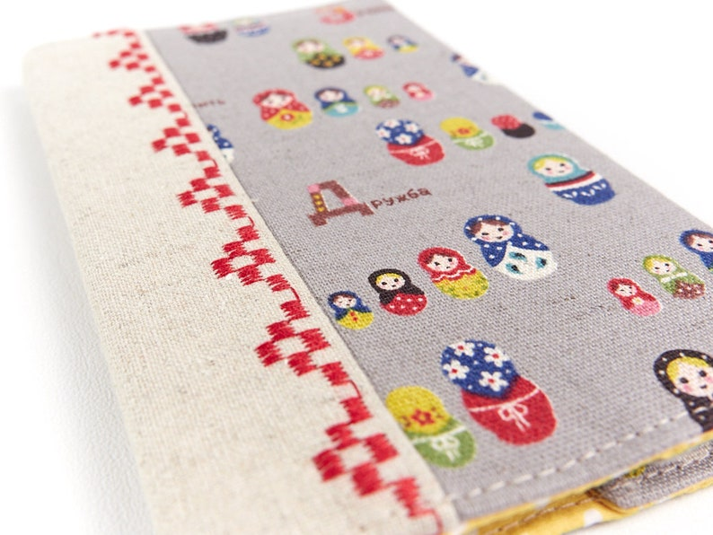Matryoshka Doll Linen Passport Sleeve Child's Travel Gift image 0
