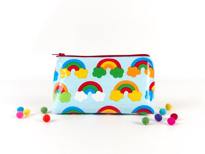 Rainbow Oilcloth Zipper Pouch Small Colourful Wipe Clean image 0