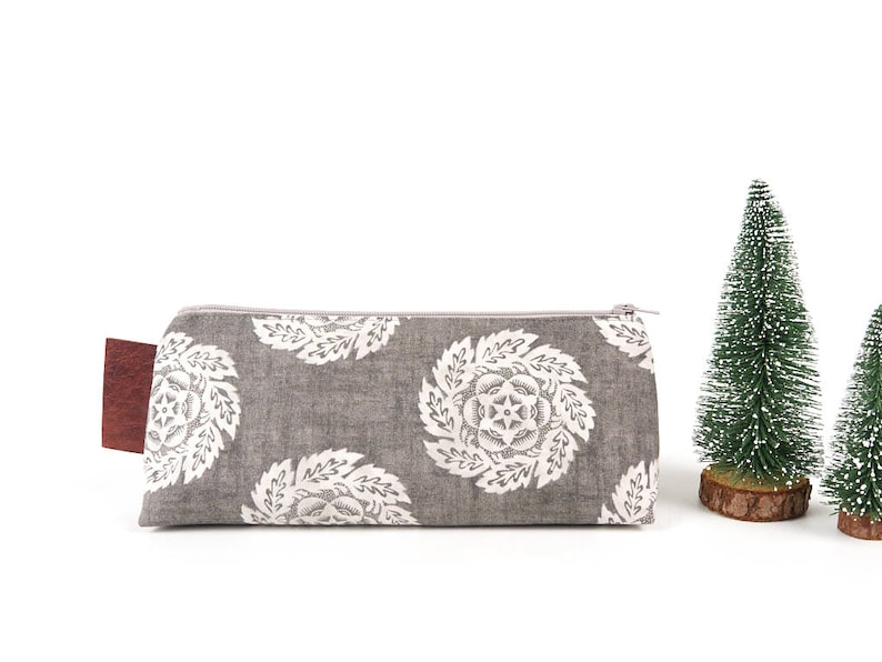 Modern Rustic Floral Pencil Case Earthy Grey Natural Toned image 0