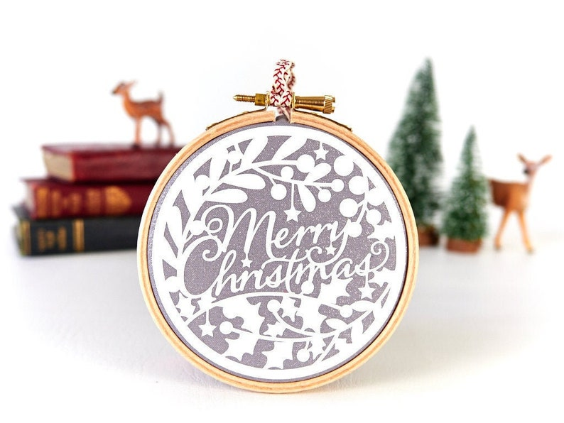 Merry Christmas White and Silver Christmas Decoration image 0