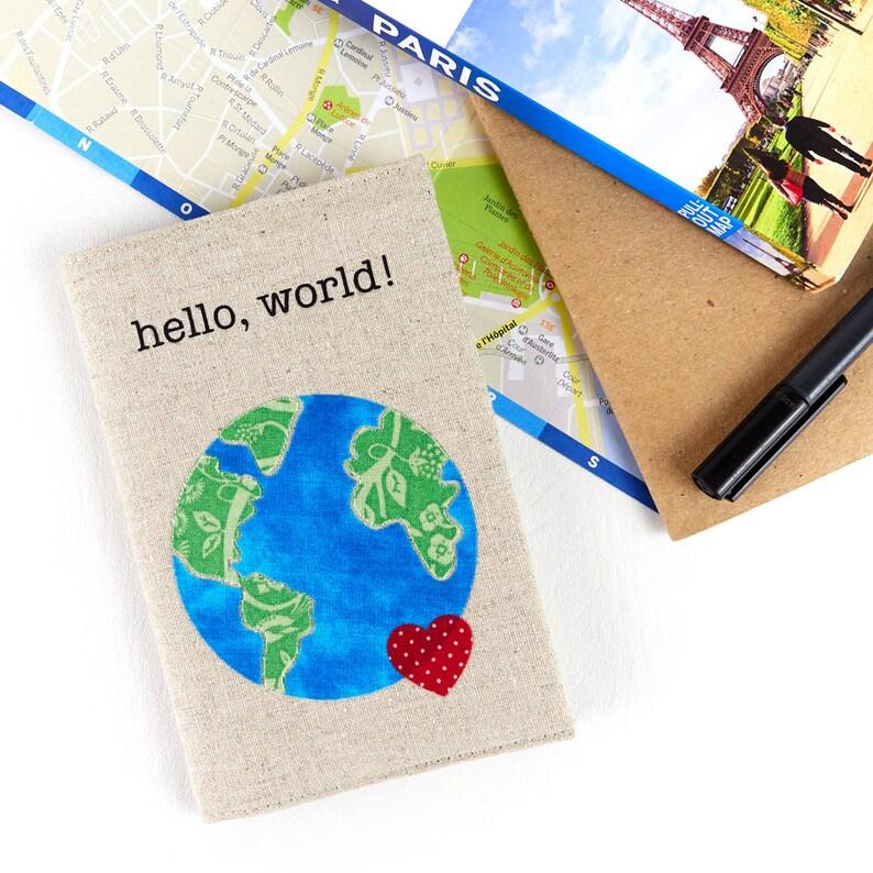 Hello World Cool Passport Holder World Map Passport Book image 0