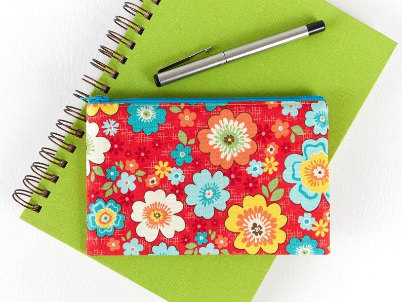 Tropical Flower Pouch Wallet Sanitary Pouch Bag Cute Zipper image 0