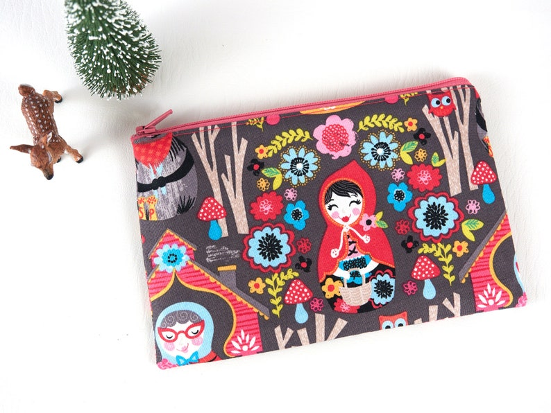 Little Red Riding Hood Small Zip Pouch Bag Folk Art Cute image 0