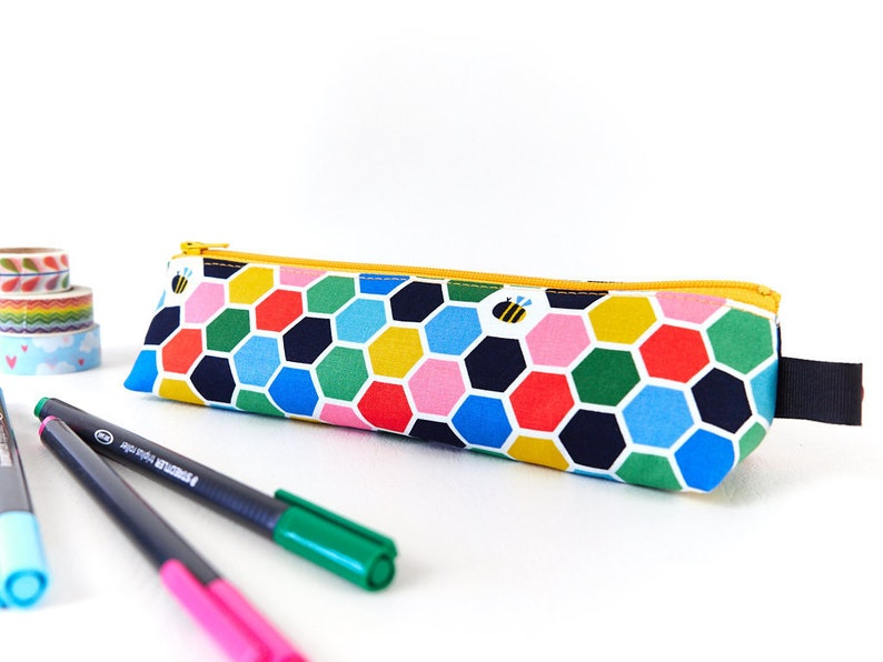 Little Honey Bee Pencil Pouch in Colourful Honeycomb Print image 0