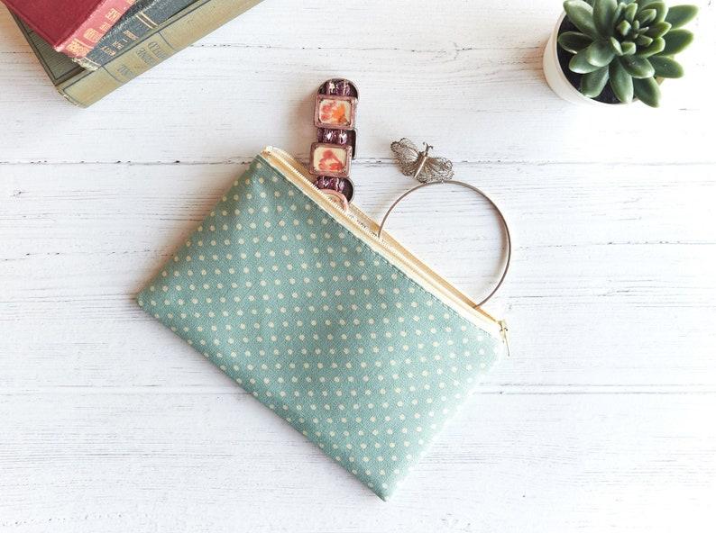 Duck Egg Blue Flat Zipper Pouch Linen Jewellery Pouch Bag image 0