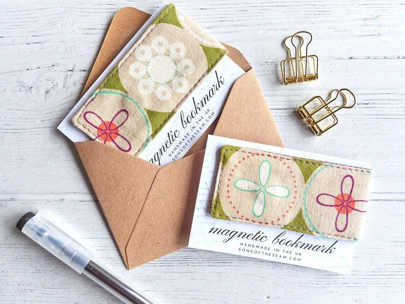 Magnetic Bookmark Linen Flower Bookmark Planner Accessory image 0