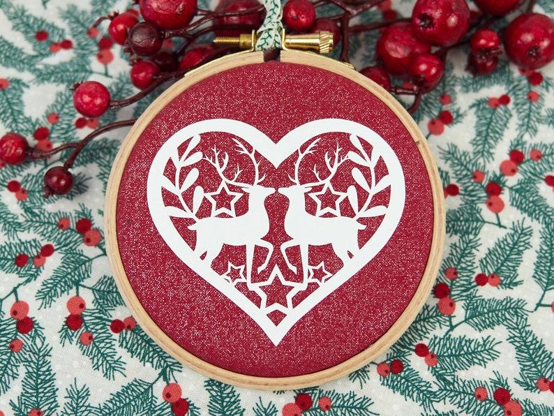Christmas Tree Reindeer Decoration Couple Christmas Heart image 0