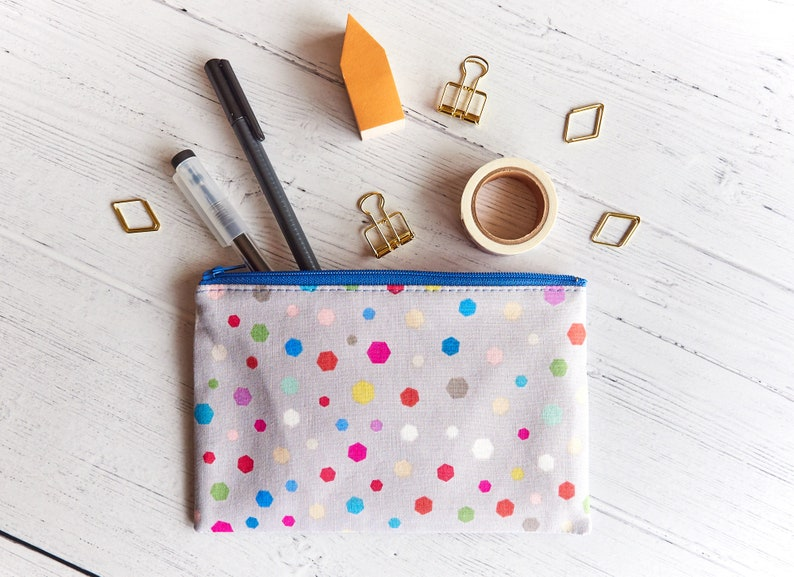 Geometric Confetti Girls Zipper Pouch Cute Zipper Wallet image 0