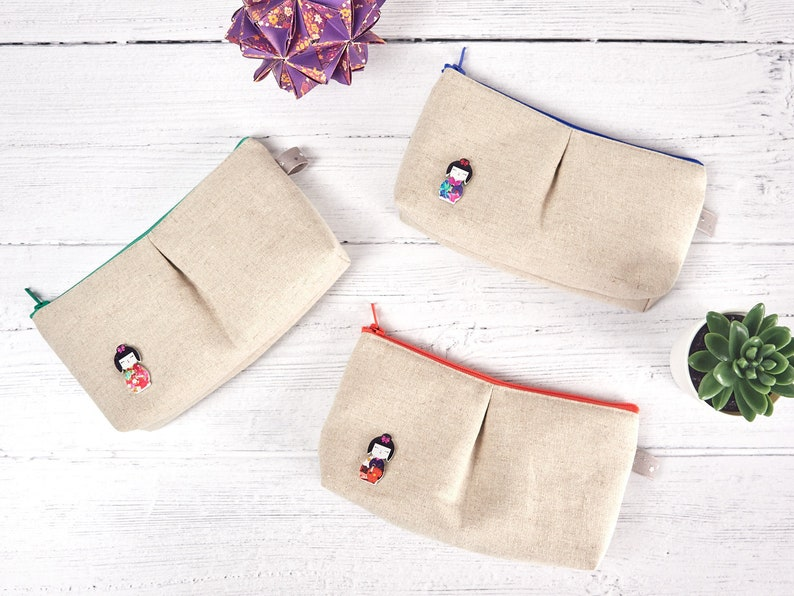 Geisha Purse Small Linen Makeup Bag Cute Japanese Style image 0
