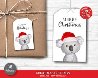 Koala Christmas Gift Tags, INSTANT DOWNLOAD, Christmas gift label, Animal gift tags, Merry Christmas, personalised, Christmas gift, digital