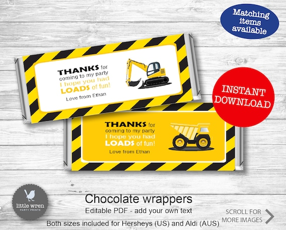 Construction Party Chocolate Wrapper Instant Download Construction Party Favor Candy Wrapper Hersheys Wrapper Birthday Candy Wrapper