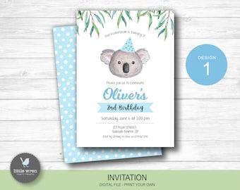 Koala invitation, koala birthday party decorations, koala invite, Australian animal, eucalyptus, koala invitation, boys 1st birthday