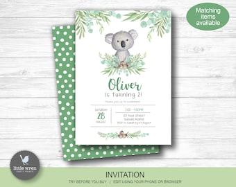 Koala birthday party decorations, INSTANT DOWNLOAD, welcome sign, Australian animal, foliage, eucalyptus, koala invitation, baby animals