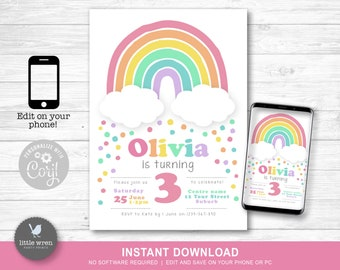 Rainbow party invitation, INSTANT DOWNLOAD, rainbow birthday, Rainbow decorations, rainbow party invite, digital invite, party supplies