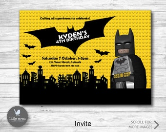 Batman Lego invitation, Batman Printable, lego birthday, party, Batman invite, superhero invitation, Batman invite, superhero party