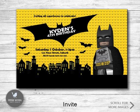 Batman Lego Invitation Printable Birthday