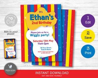 The Wiggles invitation, wiggles poster, Wiggles party, Wiggles banner, birthday party, the wiggles decorations, board, personalised, decor