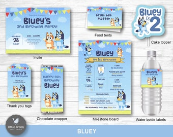 Bluey invitation, Bluey birthday party decorations, Personalized Bluey invite, Bingo, Bluey party, customized, digital files, bluey tv show
