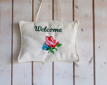 Blue forget me not pink rose Welcome door hanger, embroidered door hanger, welcome hanger, hungarian folk embroidery