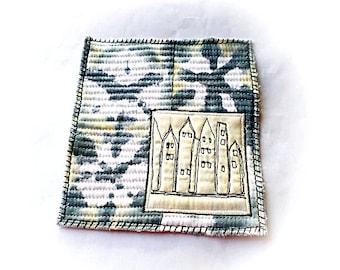 Fabric collage,shibori urban scape  landscape fiber art, fiber postcard, miniature art quilt modern home decorecor