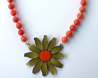 Orange Necklace, Flower Jewelry, Fall Statement Necklace, Recycled Jewelry, Upcycled Jewelry,Midcentury Jewelry,Enamel Flower,Daisy Necklace