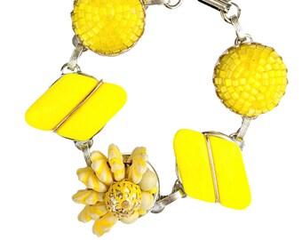Yellow vintage cluster bracelet, yellow vintage bracelet, yellow jewelry, midcentury mod bracelet, vintage earring bracelet, bel monili