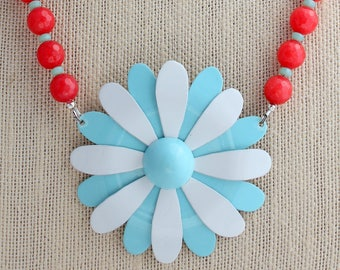 Nautical Necklace, Daisy Necklace, Flower Necklace, Red Necklace, Recycled Jewelry, Recycled Necklace,Upcycled Jewelry,Upcycled Necklace