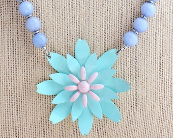 Periwinkle Necklace, Daisy Necklace, Flower Necklace, Pastel Necklace, Recycled Jewelry,Recycled Necklace,Upcycled Jewelry,Upcycled Necklace