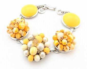 Yellow bracelet, vintage bracelet, yellow vintage bracelet, yellow jewelry, midcentury mod bracelet, vintage earring bracelet, bel monili