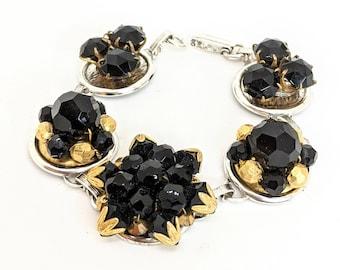 Jet bracelet, black bracelet, vintage bracelet, black jewelry, vintage black glass bracelet, jet glass jewelry, earring bracelet, bel monili